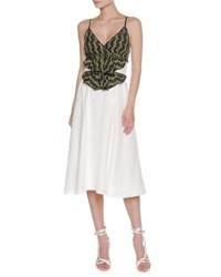 Francesco Scognamiglio Floral Vine Sleeveless Midi Dress White White Pattern
