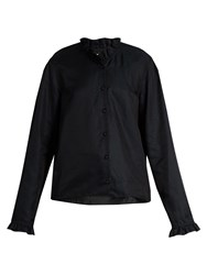 Christophe Lemaire Ruffled Long Sleeved Cotton Blend Shirt Navy
