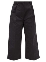 Rochas Straight Leg Duchess Satin Cropped Trousers Black