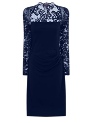 Hotsquash Lace Sleeved Dress In Clever Fabric Navy