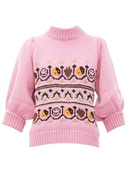 Ganni Intarsia Knitted Wool Blend Sweater Pink