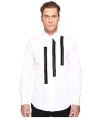 Dsquared Leather Rouches Button Up White Men's Long Sleeve Button Up