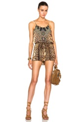 Camilla Shoestring Strap Romper In Brown Animal Print