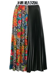 Versace Jeans Couture Printed Pleated Midi Skirt Black