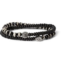Luis Morais White Gold And Bead Bracelet Black