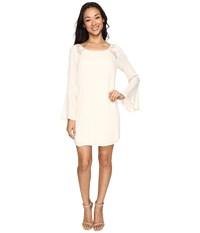 Brigitte Bailey Rowan Long Sleeve Dress With Lace Detail Cream Women's Dress Beige