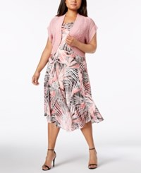 Robbie Bee Plus Size Printed A Line Dress And Shrug Blush Grey