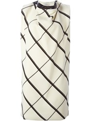 Bouchra Jarrar Lattice Print Shift Dress White