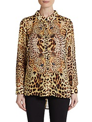 Harlow Zee Leopard Print Long Sleeve Blouse Cheetah Multi