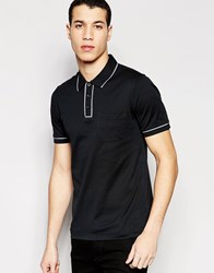 Original Penguin Heritage Slim Fit Polo Shirt With Tonal Piping Detail Black