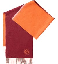 Loewe Window Two Tone Wool And Angora Blend Scarf Burgundy Orange
