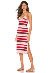 Suboo Midsummer Knitted Stripe Midi Dress Red