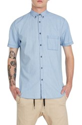 Zanerobe Men's 7Ft Chambray Woven Shirt Bleach Denim