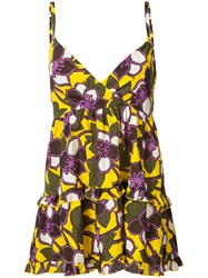 P.A.R.O.S.H. Flared Floral Camisole Top Women Silk 40 Yellow Orange