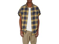 R 13 R13 Men's Plaid Frayed Flannel Shirt Yellow