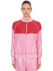 Alberta Ferretti Two Tone Sequined Track Jacket Pink Red