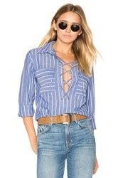 Equipment Knox Lace Up Blouse Blue