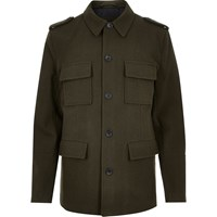 River Island Mensgreen Smart Wool Blend Military Jacket
