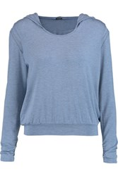 Heidi Klum Intimates Cozy Mornings Lace Trimmed Stretch Jersey Hooded Top Blue