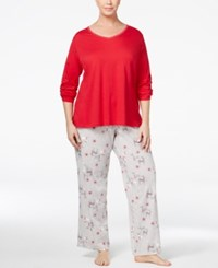 Charter Club Plus Size Mix It Top And Printed Pants Pajama Set Only At Macy's Reindeer