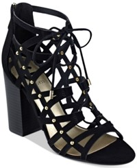G By Guess Juto Lace Up Block Heel Sandals Women's Shoes Black