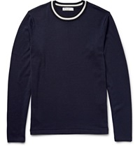 Sandro Silk And Cotton Blend Sweater Blue