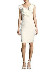 Taylor Ruffle Trim V Neck Sheath Dress Ivory