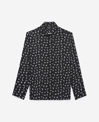 The Kooples Classic Collar Ecru Black Printed Shirt