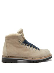 Montelliana Moena Shearling Lined Suede Hiking Boots Grey