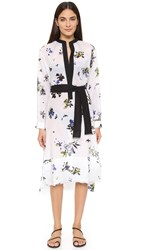 Proenza Schouler Floral Fray Cover Up Shirtdress White