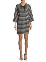 Imnyc Isaac Mizrahi Lace Up Full Sleeve Knee Length Shift Dress Black Mini Stripe