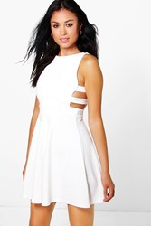 Boohoo Textured Cut Out Skater Dress White