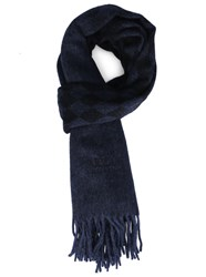 Armani Collezioni Blue And Black Shades Ac Logo And Diamond Cashmere Wool Scarf
