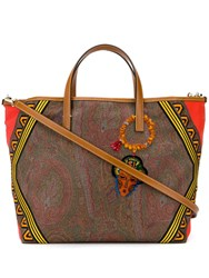 Etro Embroidered Jacquard Paisley Tribe Shopper Bag Brown