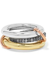 Spinelli Kilcollin Libra Set Of Three 18 Karat Yellow And Rose Gold And Rhodium Plated Sterling Silver Diamond Rings