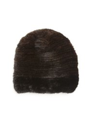 Sherry Cassin Mink Fur Hat Mahogany Black