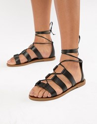 Aldo Leather Tie Leg Sandals Black