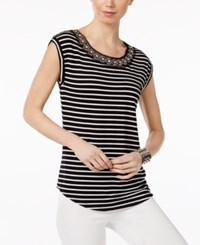 Cable And Gauge Cupio By Embellished Striped Blouse Black White Stripe