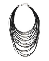 Fragments For Neiman Marcus Multi Strand Cord Statement Necklace Black