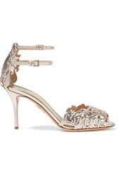 Charlotte Olympia Margherita Metallic Laser Cut Leather Sandals Silver
