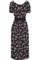 Mother Of Pearl Zoe Open Back Floral Print Silk Midi Dress Black