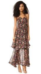 Nicholas '70S Floral Strapless Bow Dress Black