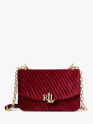 Ralph Lauren Elmswood Madison 22 Velvet Cross Body Bag Bordeaux