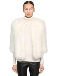 Yves Salomon Cropped Sleeve Feather Jacket White