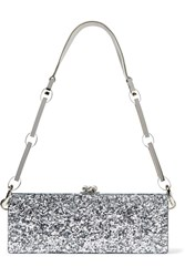 Edie Parker Flavia Glittered Acrylic Box Clutch Silver