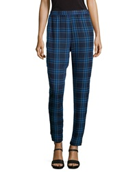 Romeo And Juliet Couture Plaid Chiffon Ankle Pants Blue
