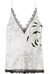 Carine Gilson Anna Chantilly Lace Trimmed Floral Print Silk Satin Camisole Ivory