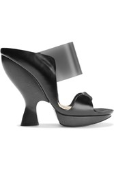 Donna Karan Leather And Suede Sandals Black