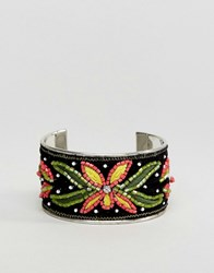 New Look Embroidered Cuff Bracelet Black