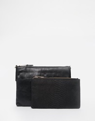 Oasis Leather Clutch With Detachable Purse Black